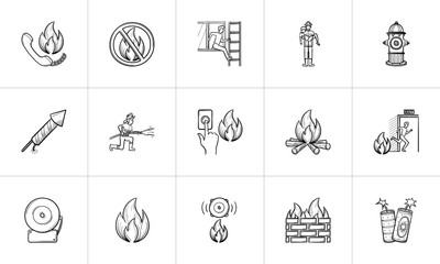 Fire hand drawn outline doodle icon set for print, web, mobile and infographics. Fire vector sketch illustration set isolated on white background.