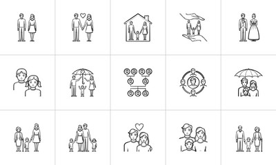 Wedding and family hand drawn outline doodle icon set for print, web, mobile and infographics. Family vector sketch illustration set isolated on white background.