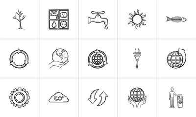 Ecology hand drawn outline doodle icon set for print, web, mobile and infographics. Ecology vector sketch illustration set isolated on white background.