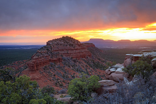 Brilliant desert spring sunset, Utah, USA.
