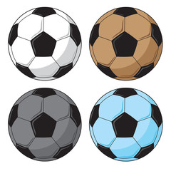 Soccer ball in 4 colours collection vector