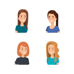 young women avatars characters vector illustration design