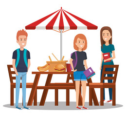 young people in picnic day scene vector illustration design