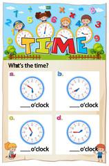 Worksheet for telling time