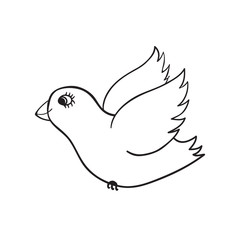 Hand drawn cute dove doodle