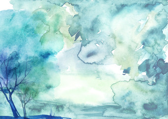 Watercolor blue, purple background, blot, blob, splash. Blue, green trees. Watercolor blue spot, abstraction. A beautiful, stylish postcard.  Wind, hurricane, bad weather. Art illustration, card.