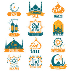 Eid Al-Fitr Eid Mubarak Sale Signs Illustration