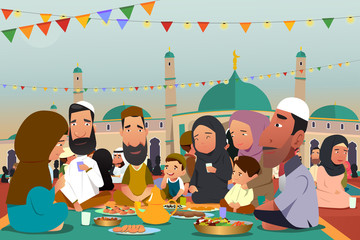 Muslims Eating Together During Ramadan Illustration