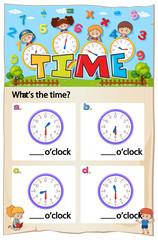 Math worksheet design for telling time