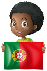 Happy boy with flag of Mexico
