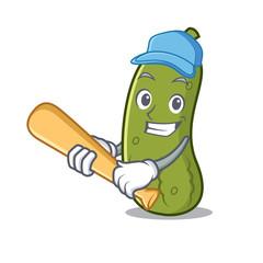 Playing baseball pickle character cartoon style