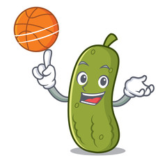 With basketball pickle character cartoon style