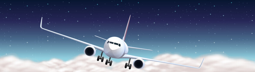 Scene with airplane flying at night