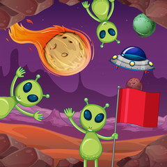 Aliens and planets in space