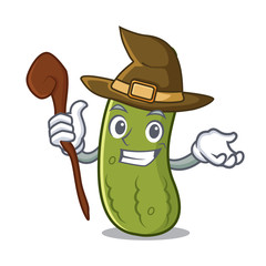 Witch pickle mascot cartoon style