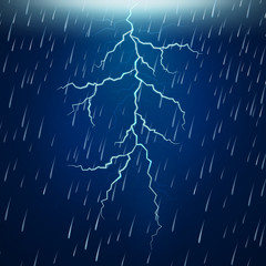 Heavy rain and thunderstorm at night