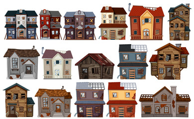 Old houses in different designs