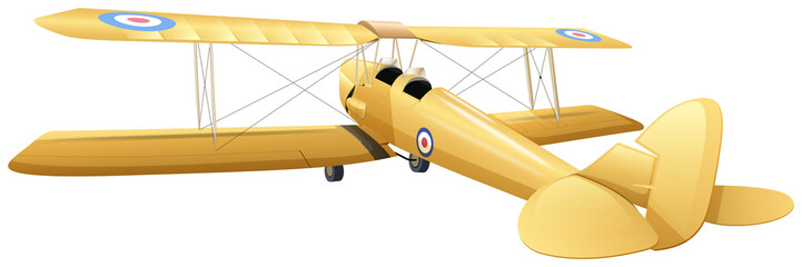 Old design of airplane in yellow color