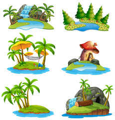 Different scenes of islands