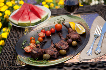 Grilled Lamb Chops In Garden