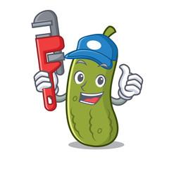 Plumber pickle mascot cartoon style