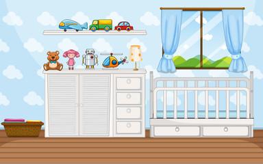 Bedroom scene with white babycrip