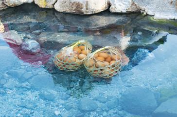Boiled eggs in hot springs