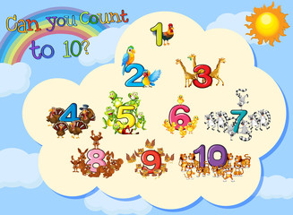 Many animals with numbers to ten