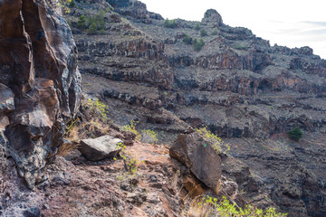 Hike in the Canyon Barranco de Argaga on La Gomera. The ravine is next to the Valle Gran Rey