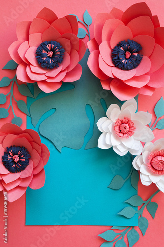 Paper Flowers Arrangement Flat Lay Stock Photo And Royalty Free