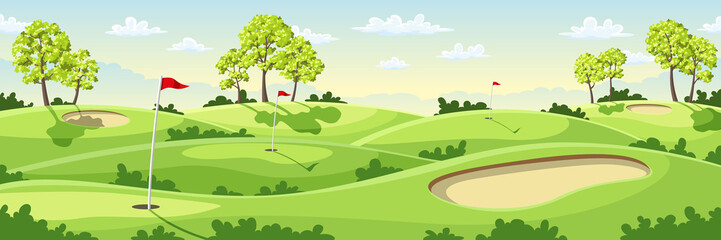 Countryside golf course with flags, greens and sand bunker.