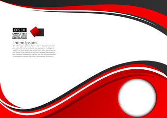 Abstract red and black geometric on white background  with copy space, Vector illustration