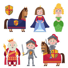 Colorful cartoon character of medieval tales showing princess and knight and king on white.