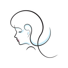 Girl head illustration. Eye, ear, hair lips neck Vector eps 10