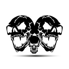 Three Aggressive Skulls with open jaw, black silhouette with shadow on white background,