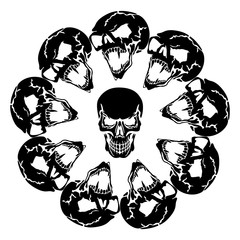 Scary Aggressive Skulls in a circle, abstract black silhouette on a white background,