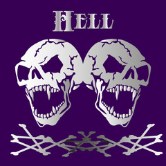 "Two Aggressive Skulls of gray-white color, abstract banner of ""death"" ,silhouette on dark purple background,"