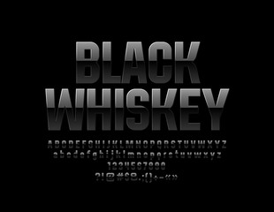 Vector Glossy Label Black Whiskey. Mystery reflective Font. Luxury stylish Alphabet Letters, Numbers and Symbols