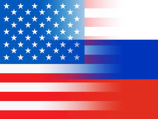 United States And Russian Flags Combined Represents Hacking