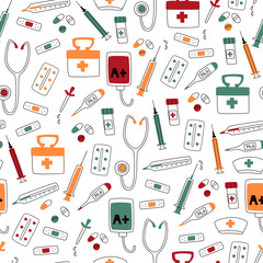 Medical Seamless Pattern with Instruments on White Background.