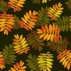 watercolor rowan leaves on dark background