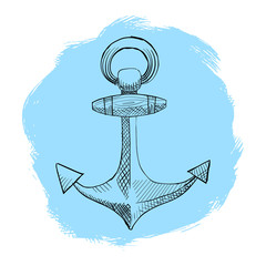Painted anchor in the style of mascara and pen. vector eps 10