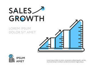 Design of sales increase composed in growing chart with words and space for text.