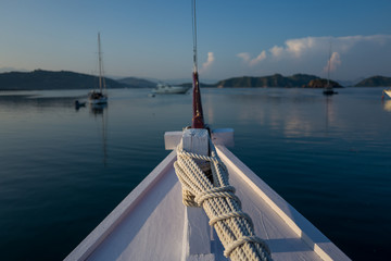 View on a boat in Labuan Bajo in Indonesia