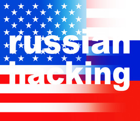 Russian Hacking On Usa Russia Flags 3d Illustration