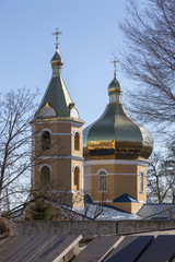 DNEPR, UKRAINE, APRIL 08, 2018: Church of the Holy Tikhvin Convent in the city of Dnepr