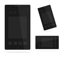 Black phone concept from front side.