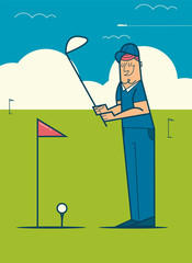 Professional golfer playing golf on the golf course.  Vector cartoon illustration.