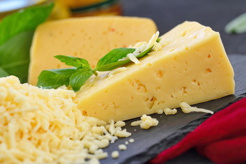 Cheese with basil and vegetables