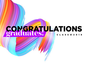 Congratulations Graduates Class of 2018 Vector Logo. Creative Party Invitation, Banner, Poster, Card. Background Design with Typography and Bright 3D Ink Spiral. Label for College Graduation Ceremony.